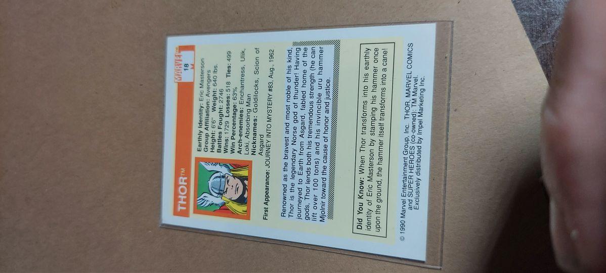 THOR 1990 Marvel Comics Super Heroes Trading Card #18