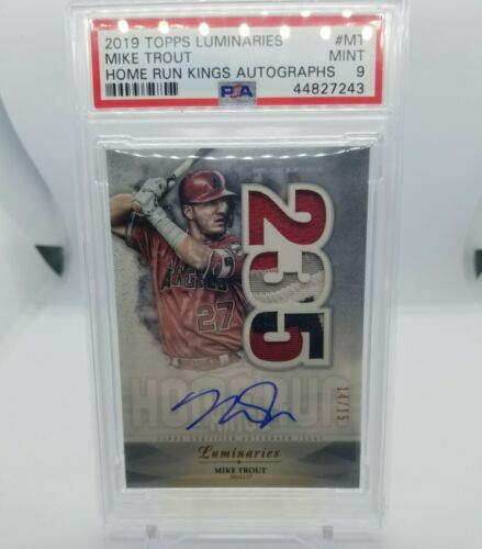 2019 Topps Luminaries Home Run Kings Auto Mike Trout 4 Color Patch /15 PSA 9 - Image 1