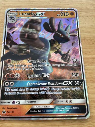 Pokemon 1x Lucario GX SM100 SM Black Star Promo NM Sun /& Moon Black Star Pro