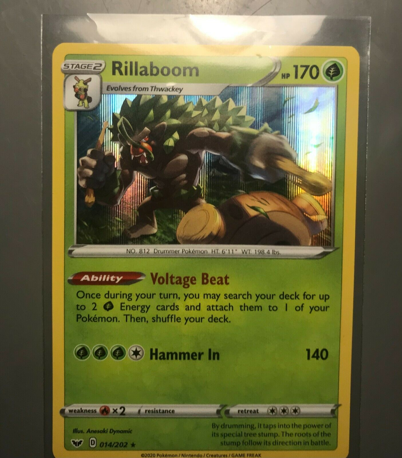 Rillaboom V casi nuevo Sword /& Shield Promo swsh 014 Pokemon Tcg