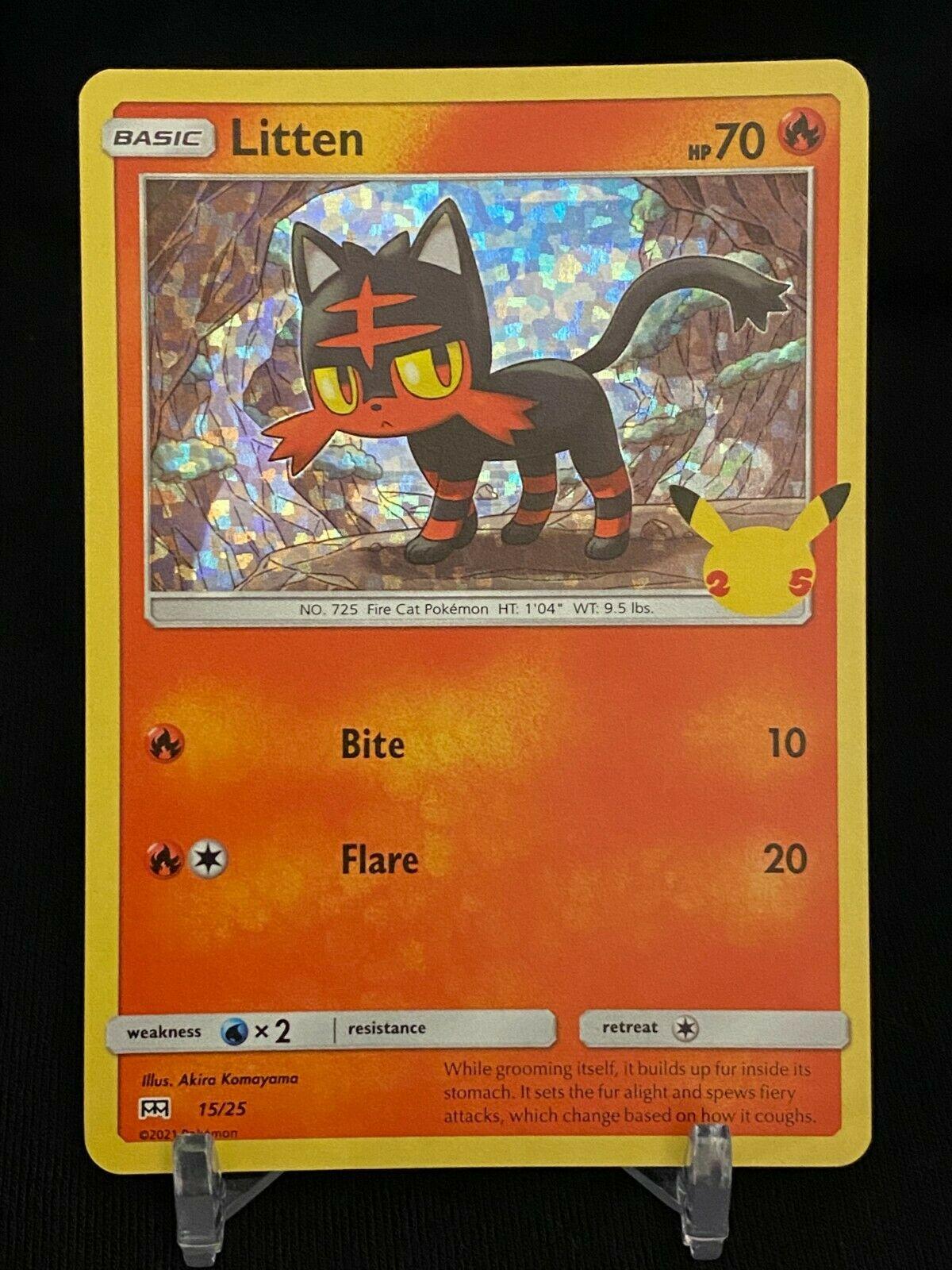 Pokemon Litten 15/25 HOLO McDonald's 25th Anniversary Stamped Promo Card - NM+