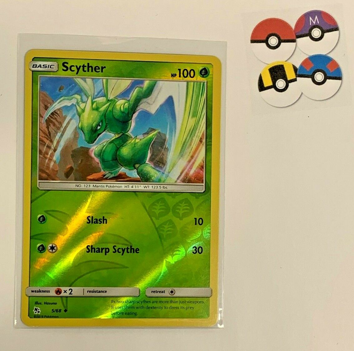 Scyther 5//68 Reverse Holo Foil Pokemon SM Hidden Fates near Comme neuf//Comme neuf condition