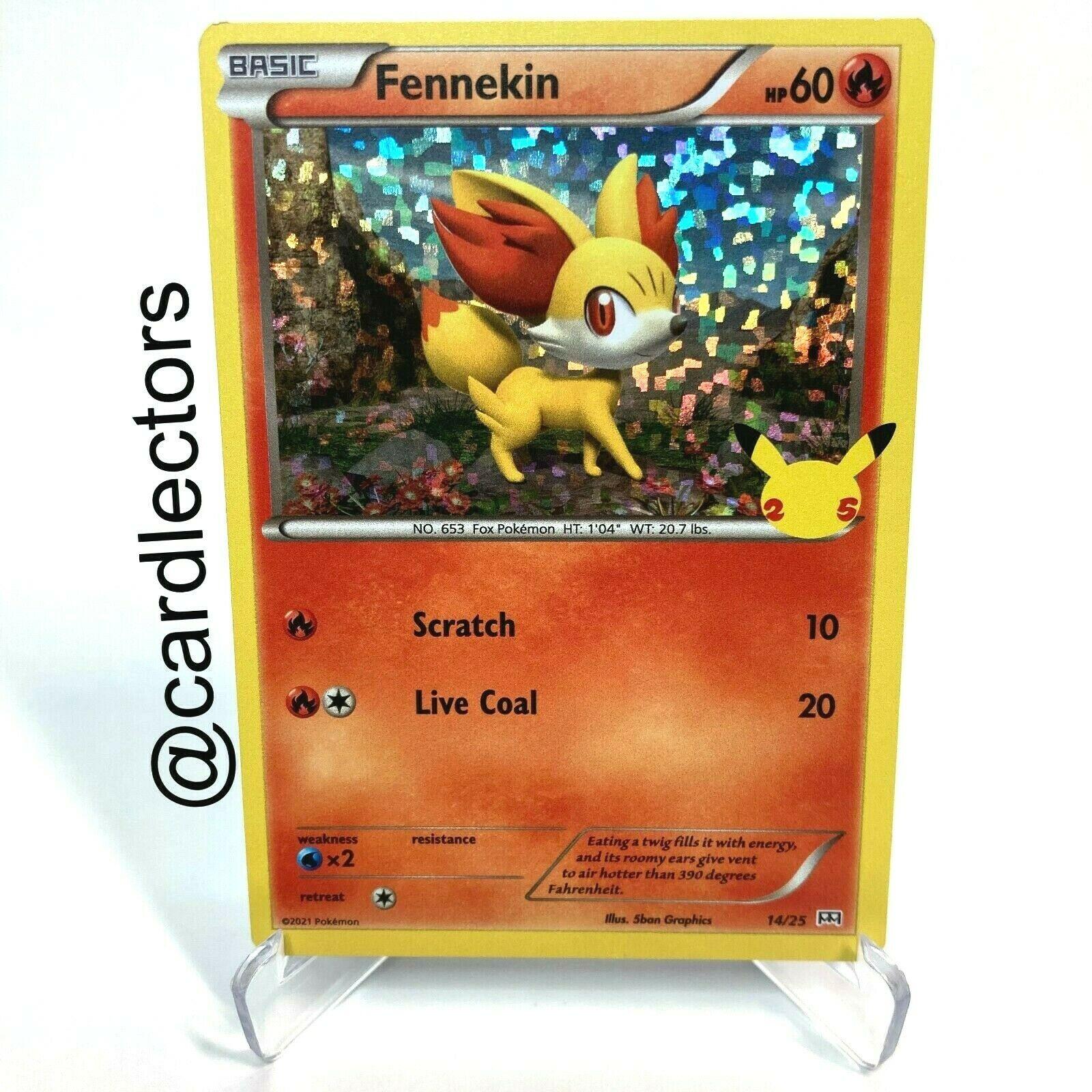 Pokemon TCG Fennekin HOLO 14/25 25th Anniversary McDonald's 2021 Promo Card