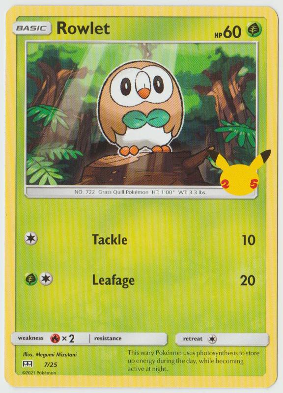 Rowlet - 2021 Pokemon McDonald's Collection 7/25 NH