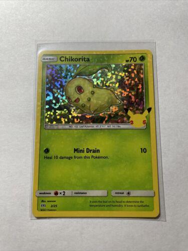 Pokemon McDonald's Chikorita HOLO FOIL BLEED ERROR rare Card 2/25 2021 Promo