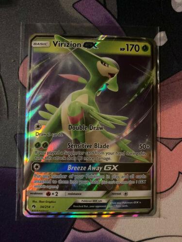 Virizion GX ULTRA RARE 34//214 Lost Thunder Pokemon card TCG NM Holo REAL