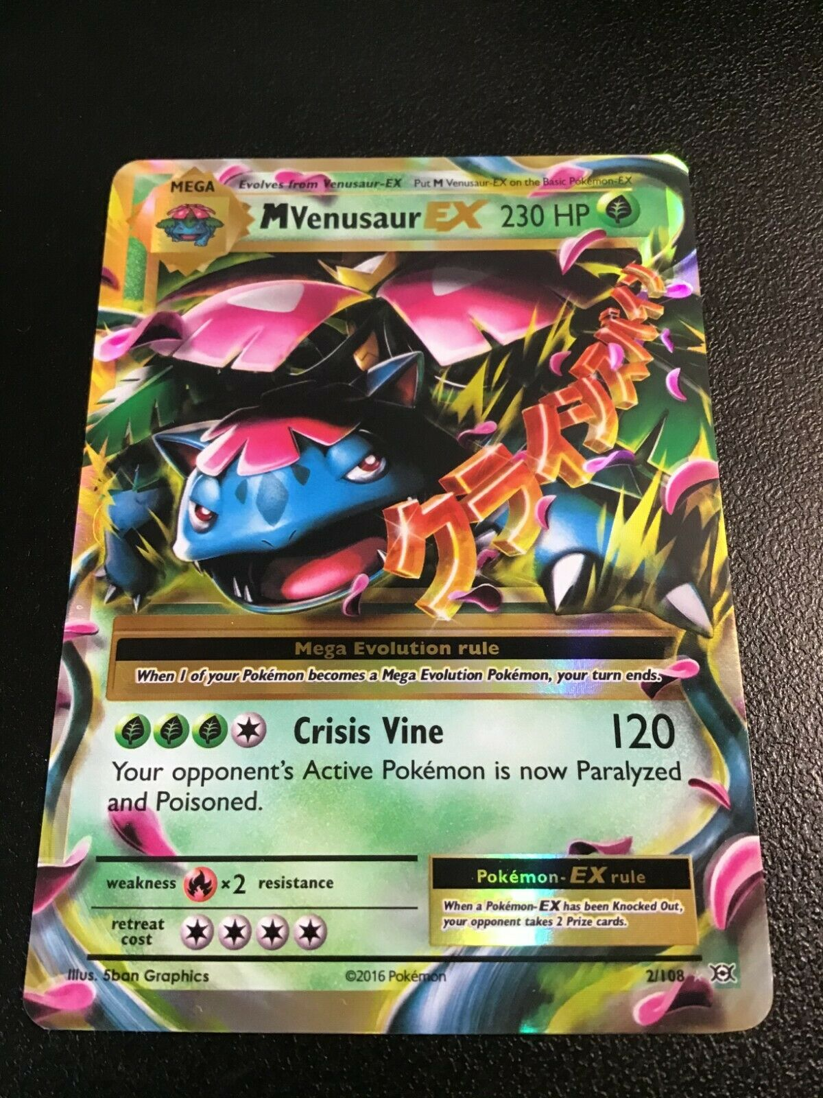 English 2//108 Pokemon Mega-Venusaur-EX Holo Rare ex NM-Mint