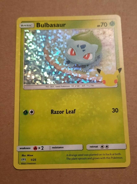 Bulbasaur McDonald's Pokemon Card Holographic 2021 1/25 25th Anniversary