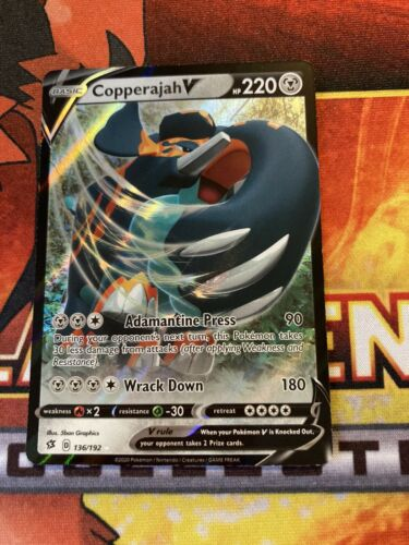 Ultra Rare 136//192 Pokémon TCG SWSH02: Rebel Clash Copperajah V