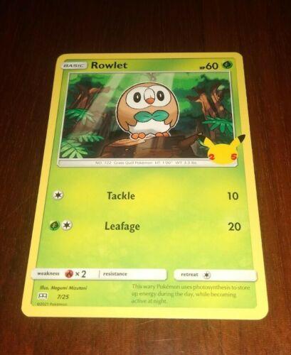 Pokemon Rowlet 7/25 Non Holo - McDonald's Promo - NM