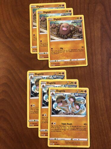 (3) Diglett 076/198 (3) Dugtrio 077/198 Chilling Reign Pokemon Card Rapid Strike