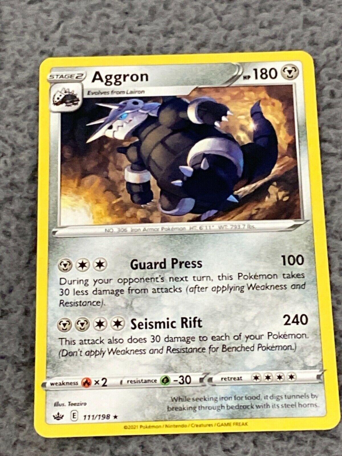 x1 Aggron - 111/198 - Rare - Reverse Holo Pokemon SS06 Chilling Reign M/NM - Image 1
