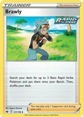 x1 Brawly - 131/198 - Uncommon - Reverse Holo Pokemon SS06 Chilling Reign M/NM