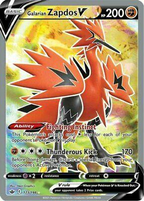 x1 Galarian Zapdos V - 173/198 - Full Art Ultra Rare Pokemon SS06 Chilling Reign