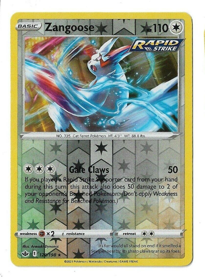 Pokemon TCG Chilling reign reverse holo Zangoose 120/198 NM