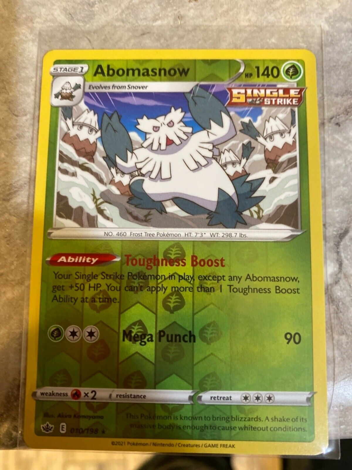 Pokemon Abomasnow 010/198 Reverse Holo Rare Chilling Reign Near Mint