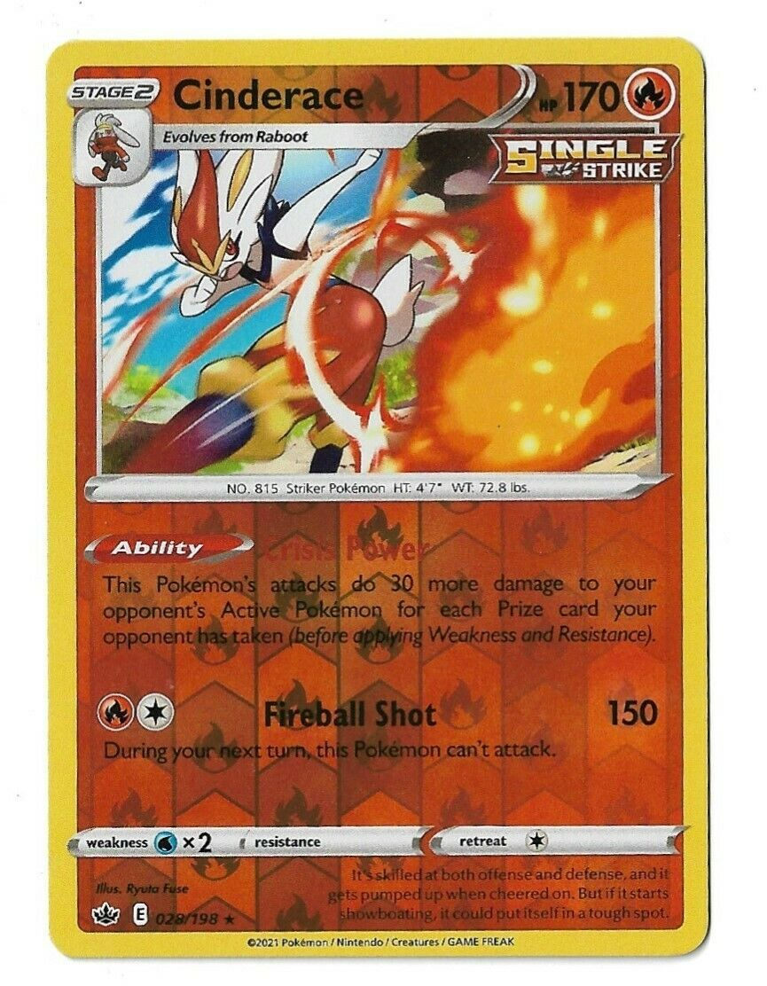 Pokemon Trading card game Chilling reign reverse holo Cinderace 028/198 NM