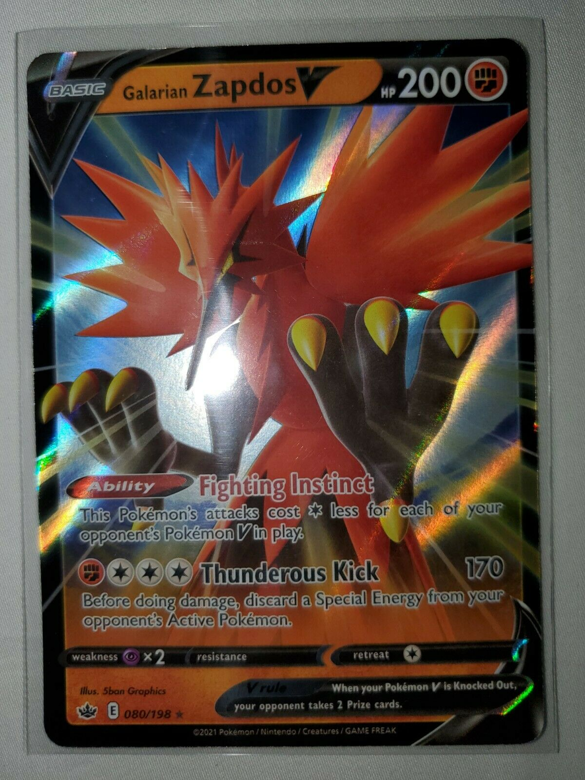 Galarian Zapdos V 080/198 Chilling Reign Ultra Rare MINT SHIPS TODAY