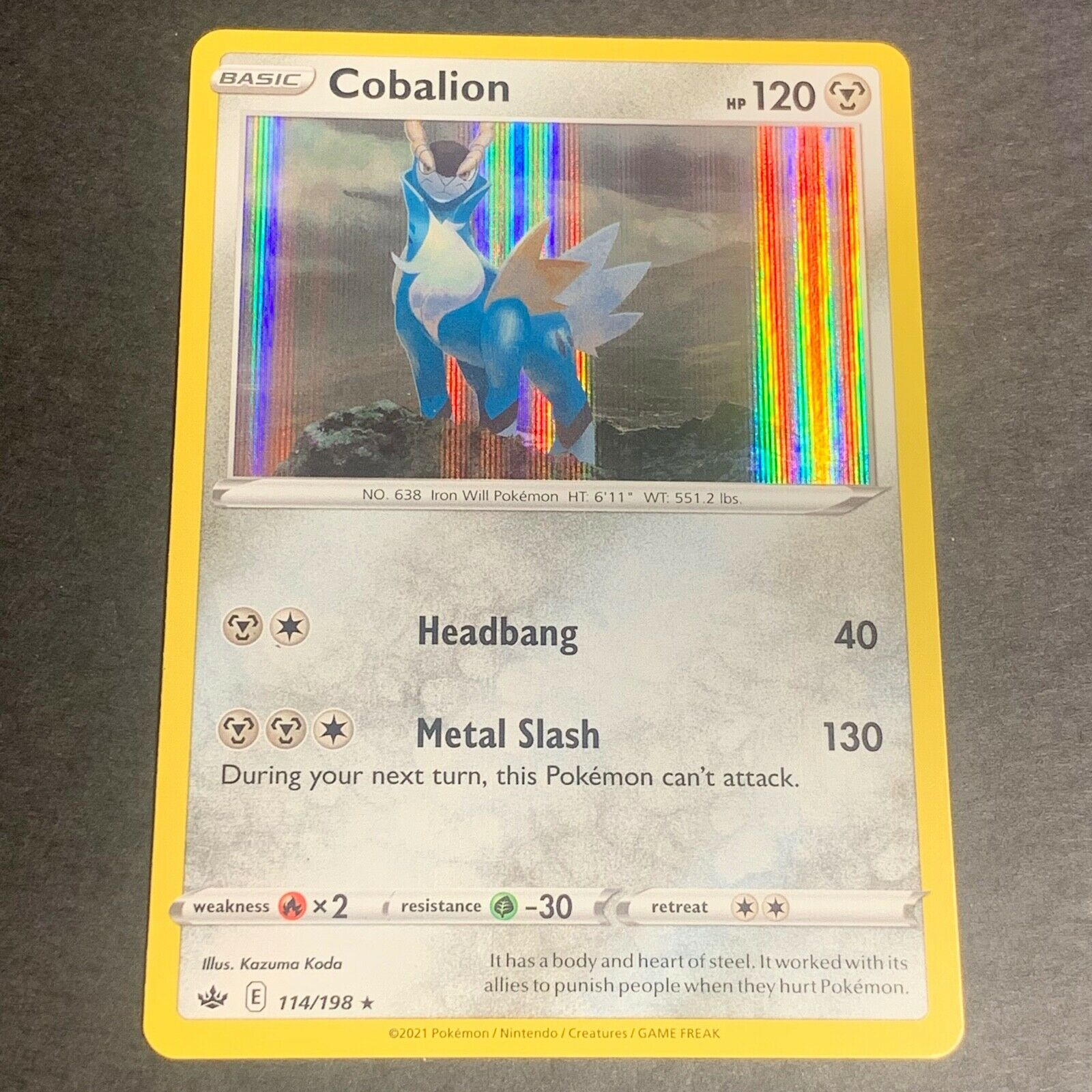 Pokemon S&S Chilling Reign Set HOLOGRAPHIC Cobalion 114/198 - Near Mint (NM)