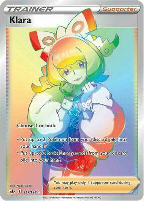 x1 Klara - 217/198 - Secret Rare Pokemon SS06 Chilling Reign M/NM