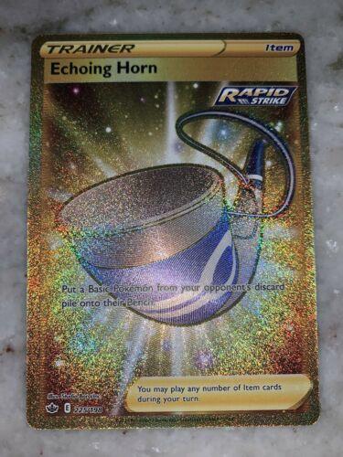 Pokemon Trainer Echoing Horn 225/198 Gold Secret Rare Chilling Reign - Image 1