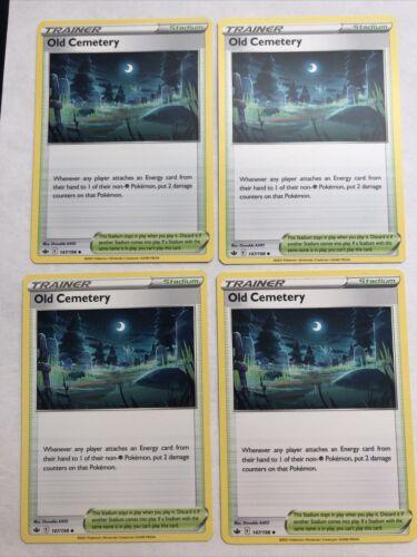 4x Old Cemetery 147/198 Playset Stadium Pokemon Chilling Reign