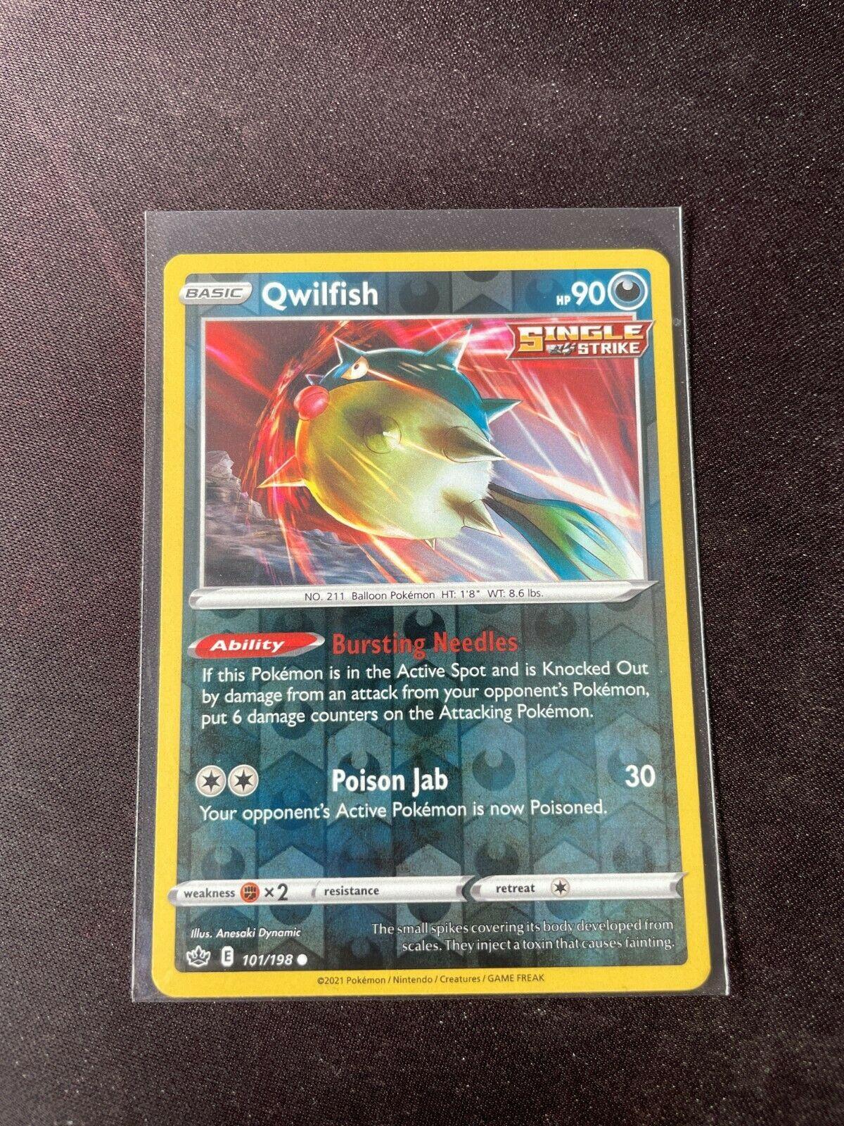 Pokemon TCG Chilling Reign 101/198 Qwilfish Card Fresh Reverse Holo Mint Rare