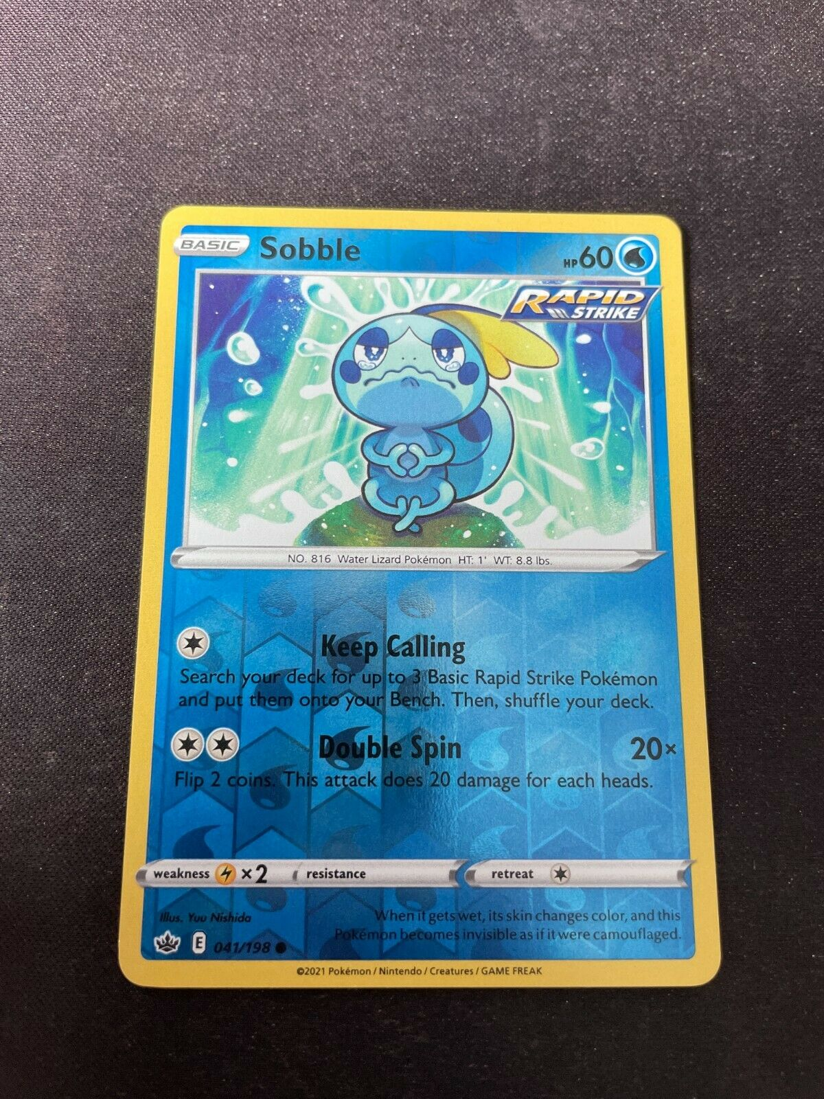 Pokemon TCG Chilling Reign 041/198 Sobble Card Fresh Reverse Holo Mint Rare