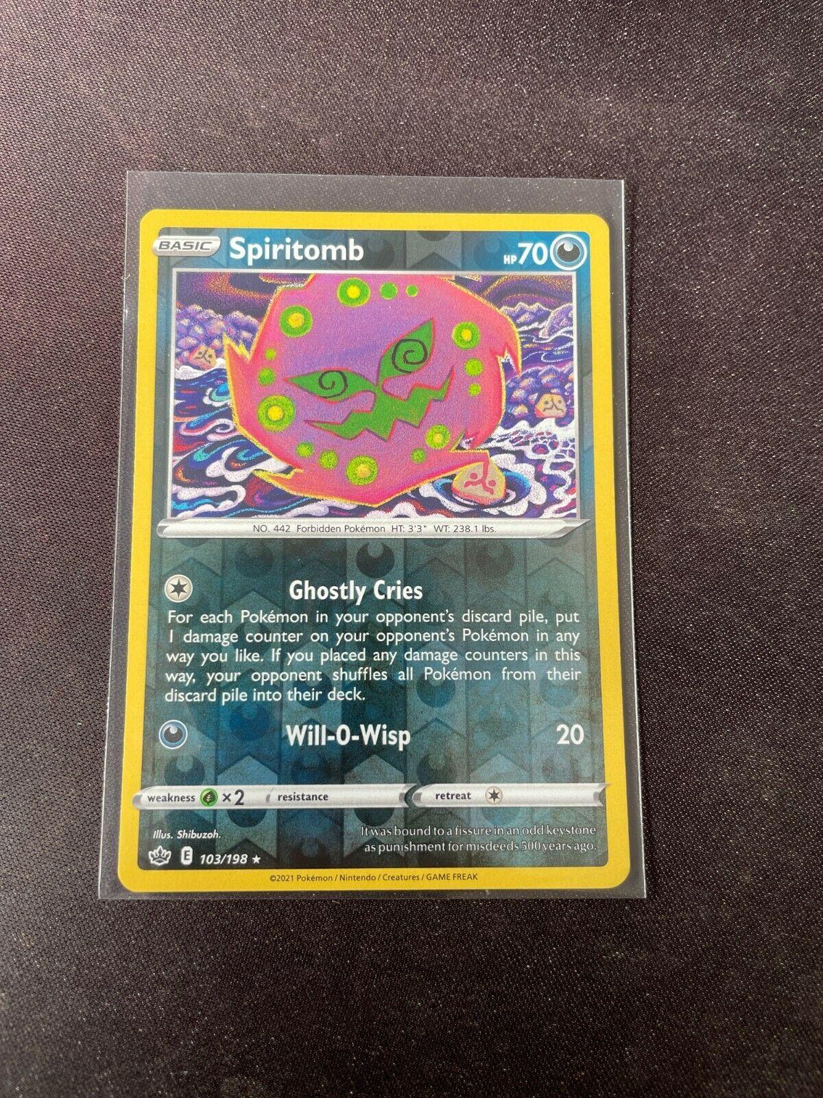 Pokemon TCG Chilling Reign 103/198 Spiritomb Card Fresh Reverse Holo Mint Rare