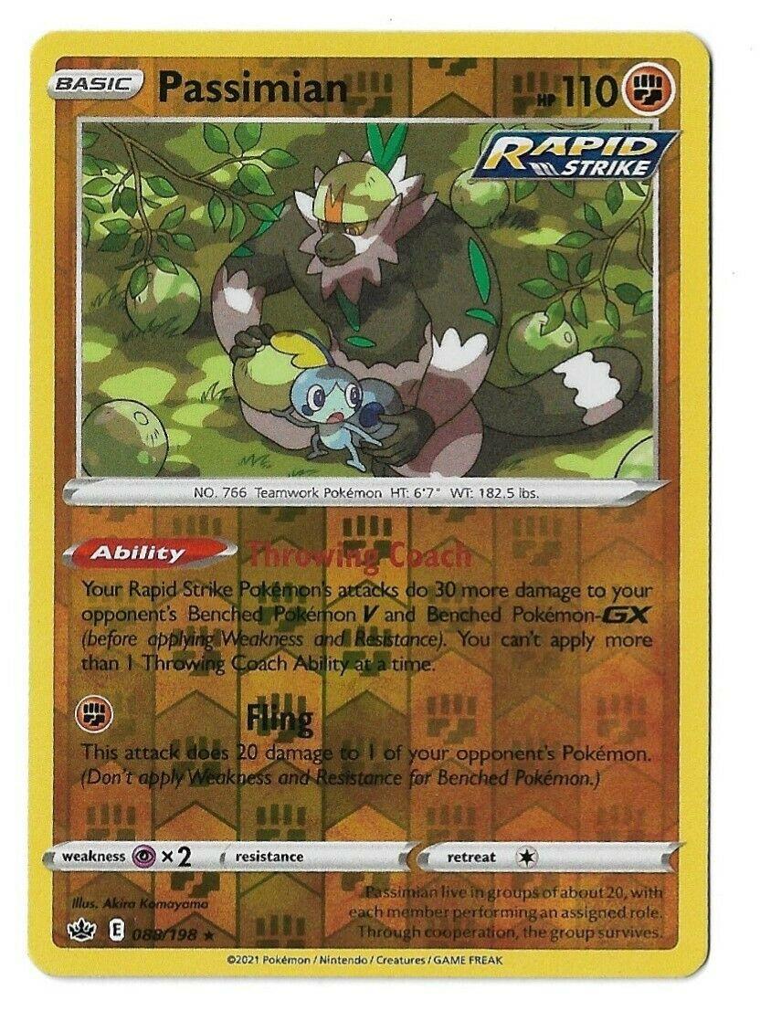 Pokemon TCG Chilling reign reverse holo Passimian 088/198 NM