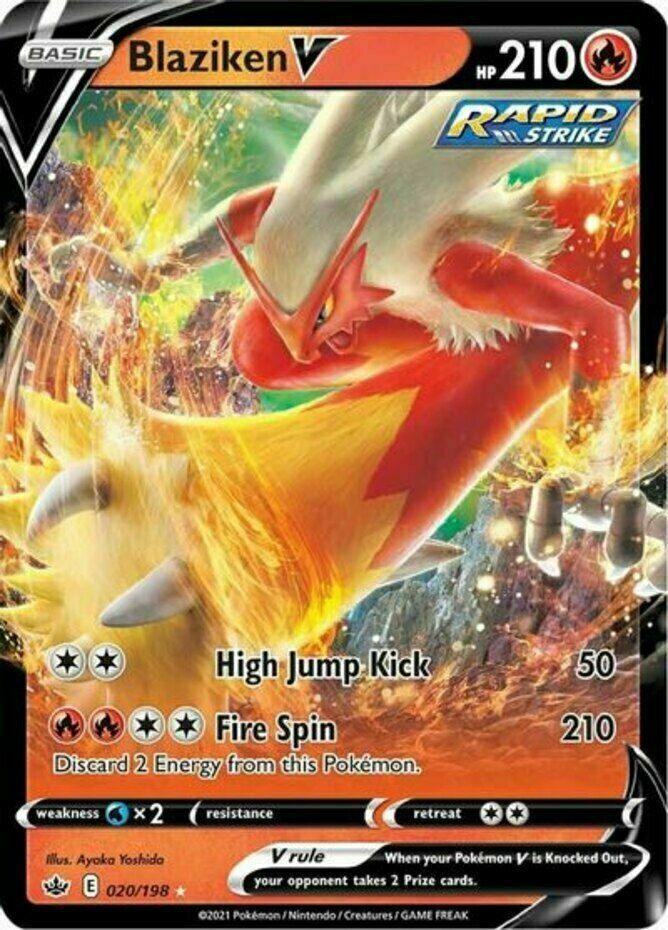 Blaziken V 020/198 Pokemon SWSH Chilling Reign Pokemon Card SHIPS FAST