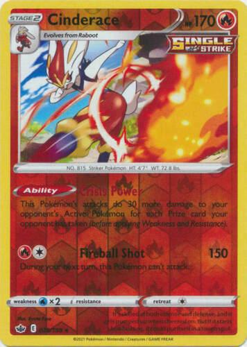 Pokemon -  Cinderace - 028/198 - Reverse Holo Rare - Chilling Reign - NM/M