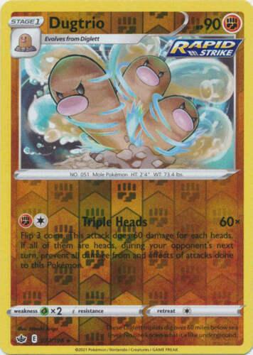 Pokemon -   Dugtrio 077/198  - Reverse Holo - Chilling Reign - NM/M