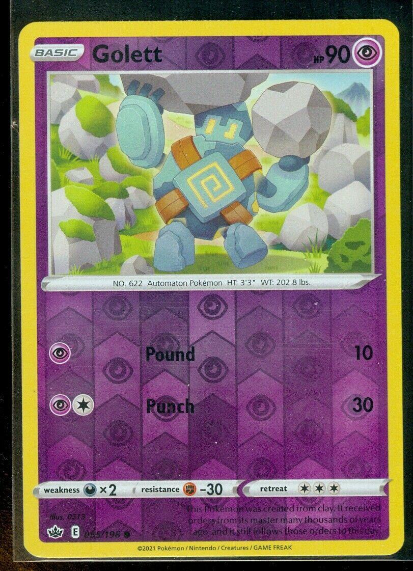Pokemon GOLETT 065/198 Chilling Reign - Rev Holo - - MINT