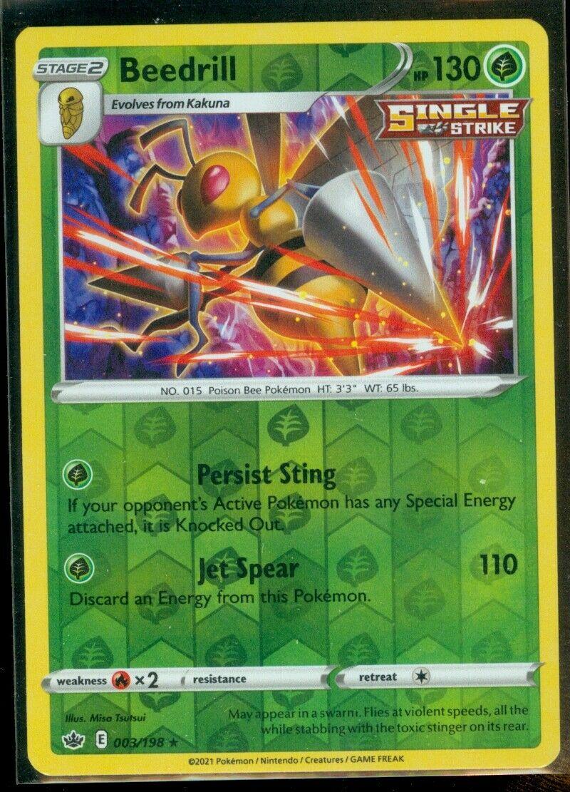 Pokemon BEEDRILL 003/198 Chilling Reign - RARE Rev Holo - - MINT