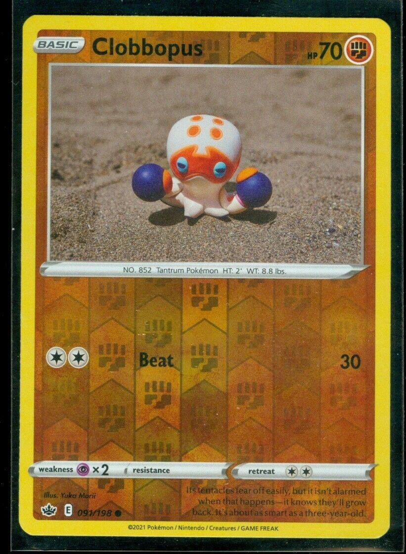 Pokemon CLOBBOPUS 091/198 Chilling Reign - Rev Holo - - MINT