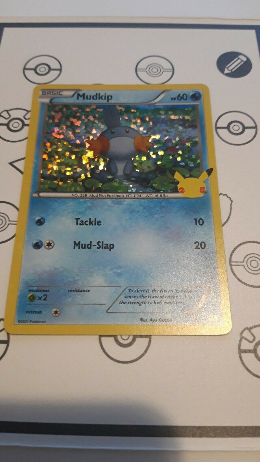 Pokemon Card MUDKIP Holo 19/25 25TH ANNIVERSARY MCDONALD'S