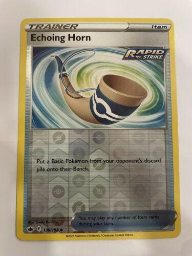 Pokemon TCG Chilling Reign 136/198 Echoing Horn Card Fresh Reverse Holo Mint - Image 1