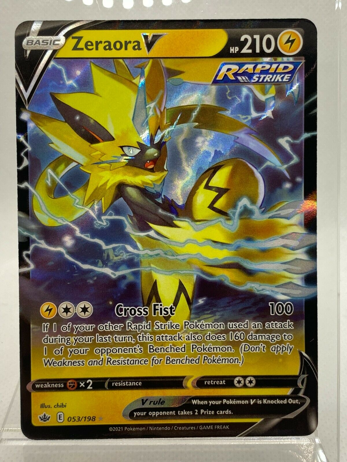 Zeraora V 053/198 Ultra Rare Chilling Reign Pokemon Card