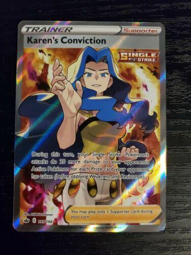 Karen's Conviction 193/198 Chilling Reign Full Art Trainer Pokemon Card NM