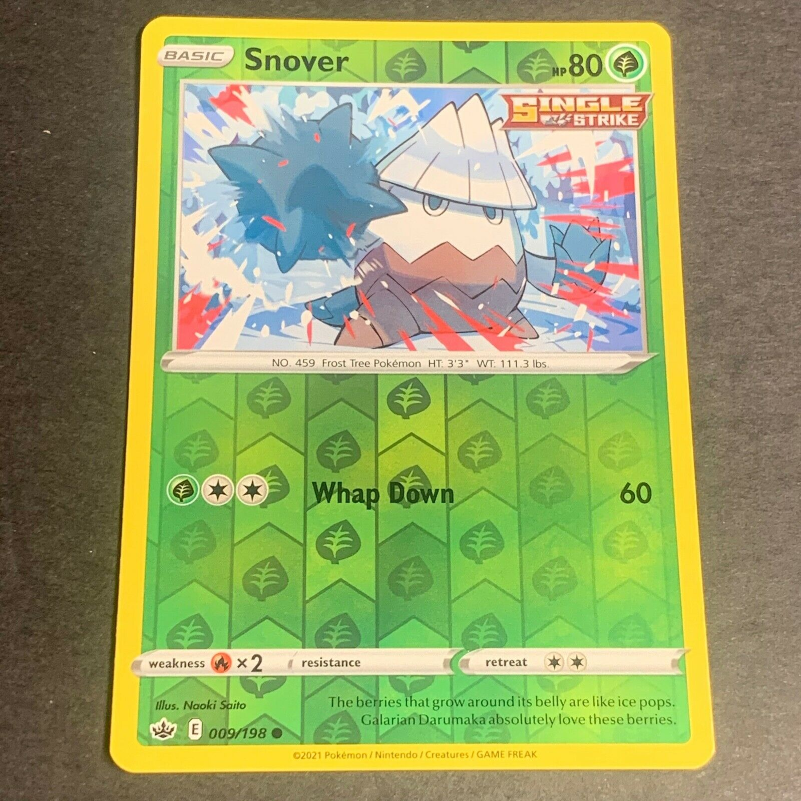 Pokemon S&S Chilling Reign Set REVERSE HOLO (C.) Snover 009/198 - Near Mint (NM)