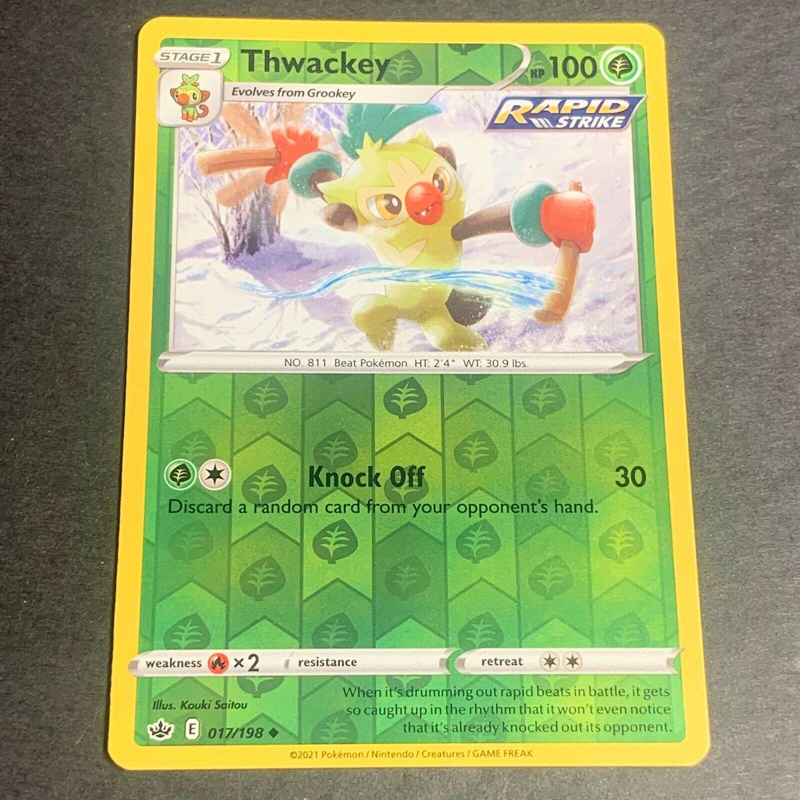 Pokemon S&S Chilling Reign REVERSE HOLO (Un.) Thwackey 017/198 - Near Mint (NM)