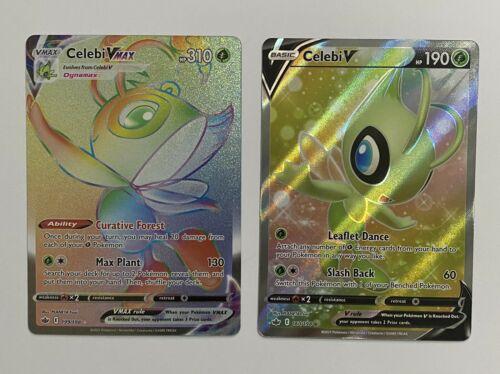 Celebi V 199/198 VMAX Rainbow Rare & V 160/198 Pokemon Chilling Reign NM