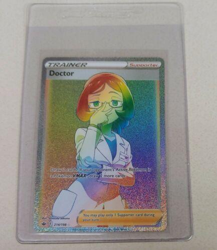 Pokemon Chilling Reign Doctor 214/198 Rainbow Secret Rare Full Art Trainer MINT!
