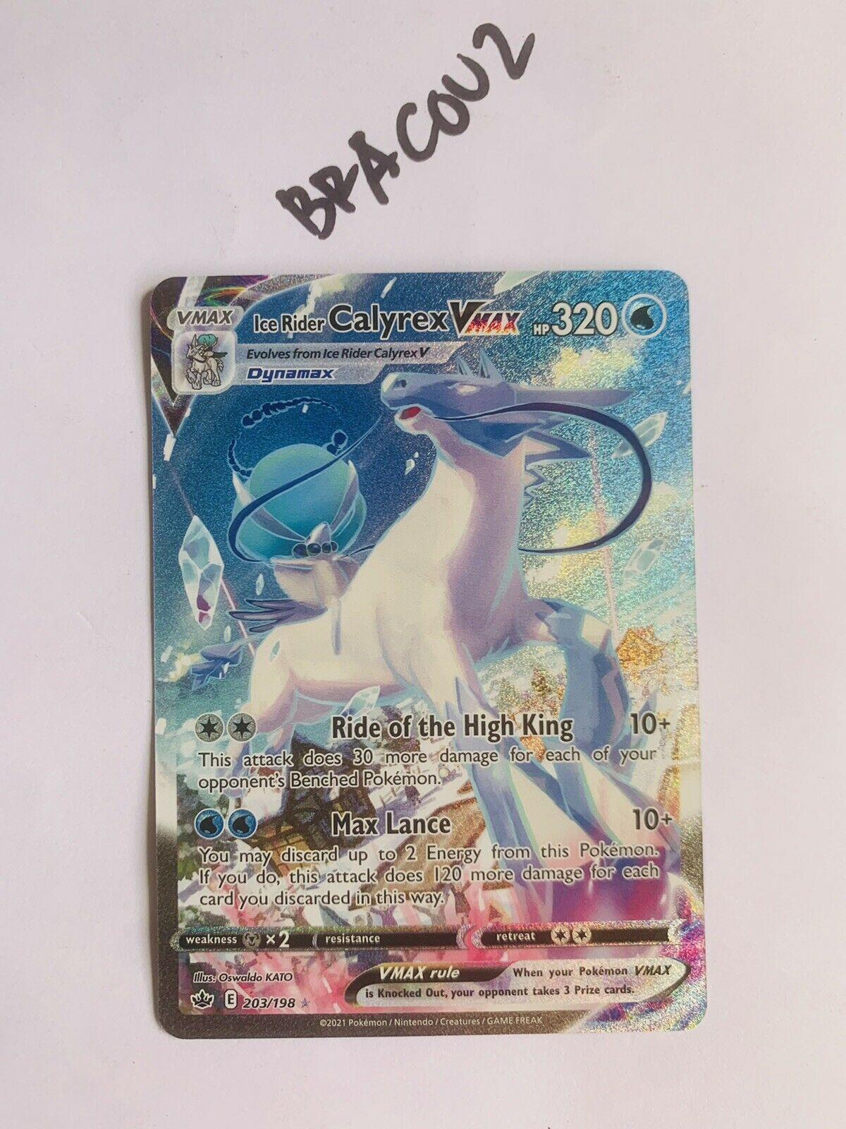 NM-Mint Pokemon Ice Rider Calyrex VMAX 203/198 Secret Rare Chilling Reign