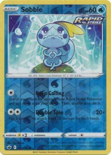 Sobble 041/198 Reverse Holo SWSH Chilling Reign Pokemon Card MINT