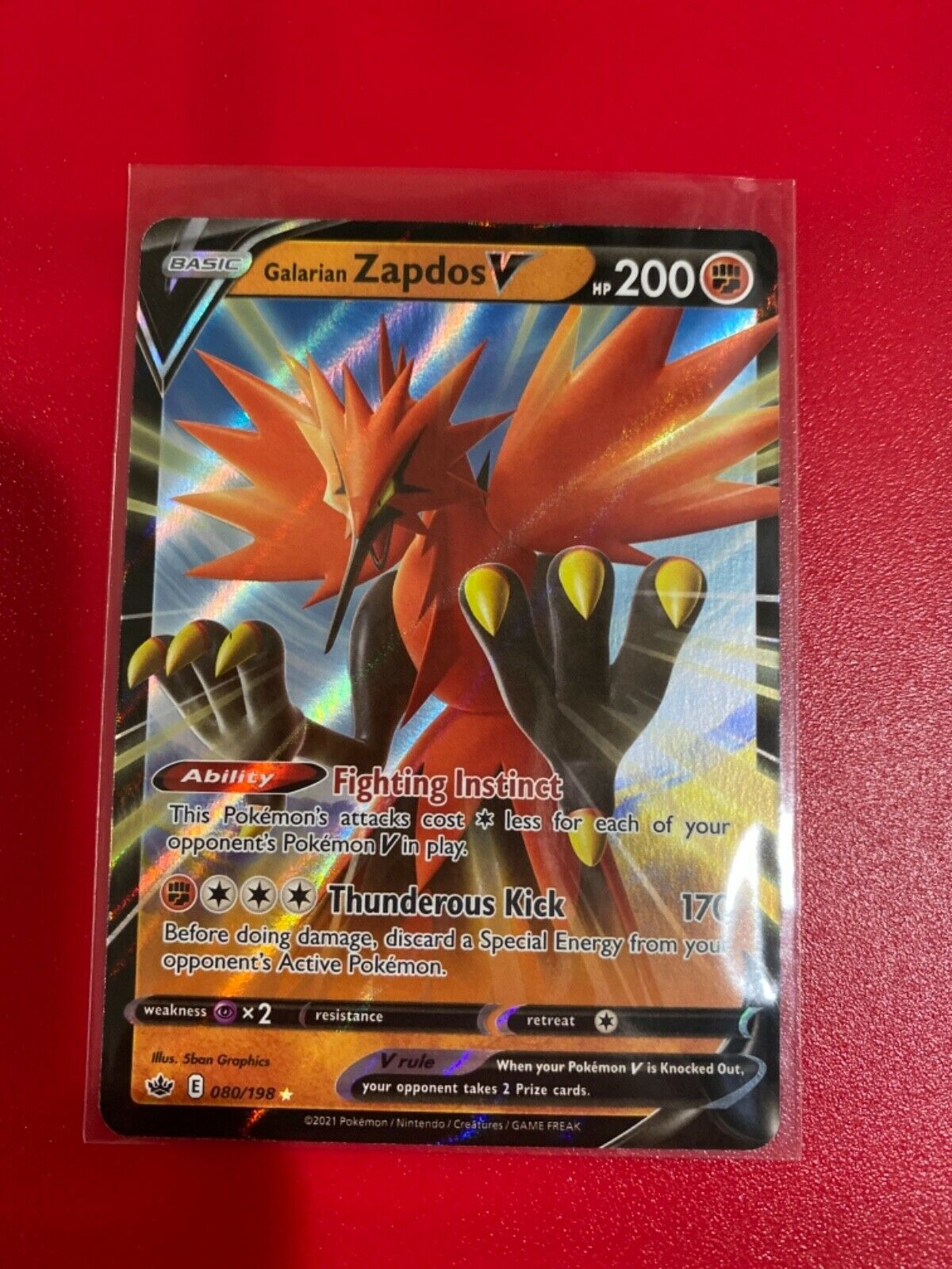 Pokemon Galarian Zapdos V 080/198 Ultra Rare Chilling Reign NEW IN-HAND 80/198