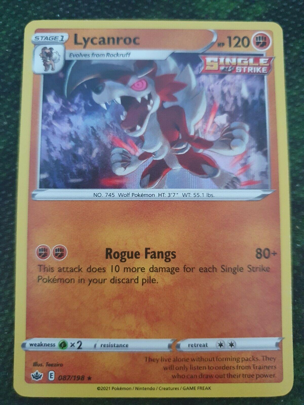 Lycanroc Holo Rare 087/198 SWSH Chilling Reign Mint Pokemon Card