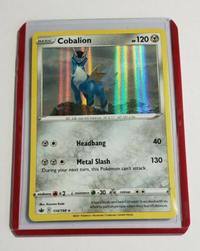 Pokemon Cobalion 114/198 Chilling Reign Ultra Ultra Card + Top Loader