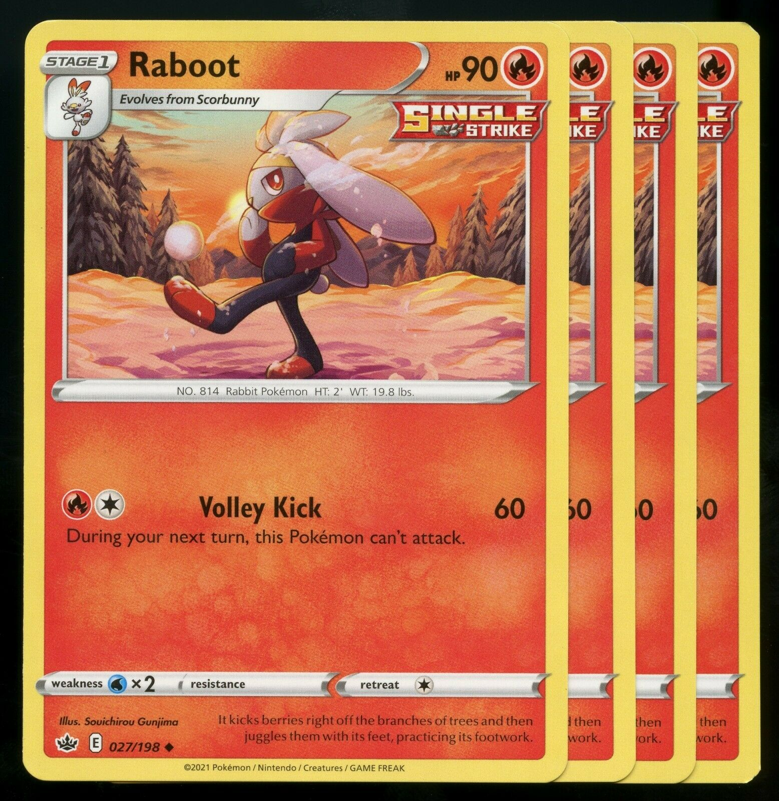 Pokemon Cards x4 Raboot 027/198 Chilling Reign Playset NM